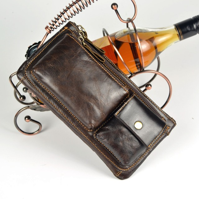 Cera del embrague día zurriago multifuncional paquete de la cintura ocasional genuino bolsas de mensajero de cuero para hombre