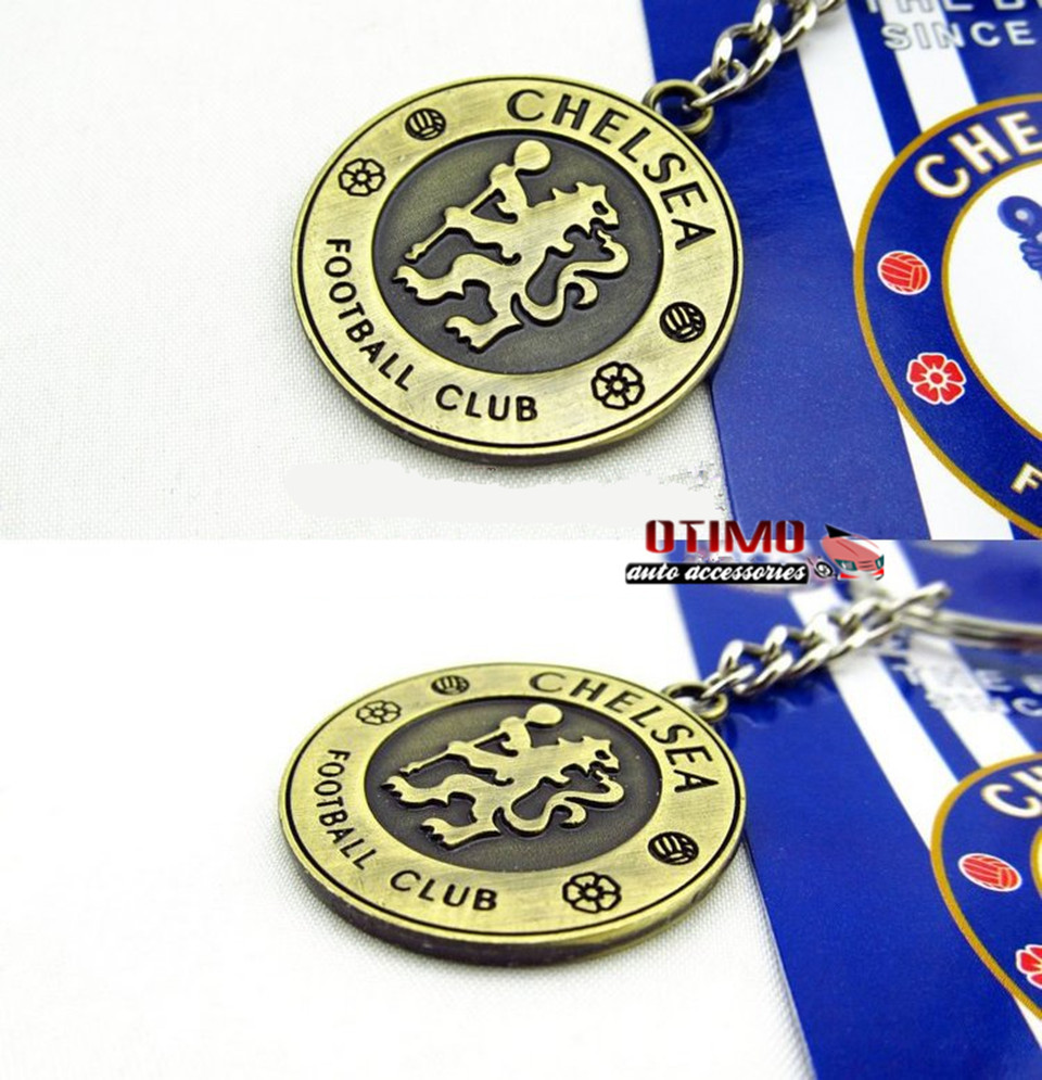 CHAMPIONS LEAGUE chelsea FC Keychain Ring Metal rotatable crest logo