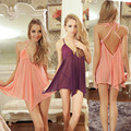 2017 women sexy transparent mini sexy langerie deep v-neck temptation condole belt bind backless lace sexy lingerie nightgown