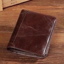 Retro Men Genuine Leather Tifold Short Wallet