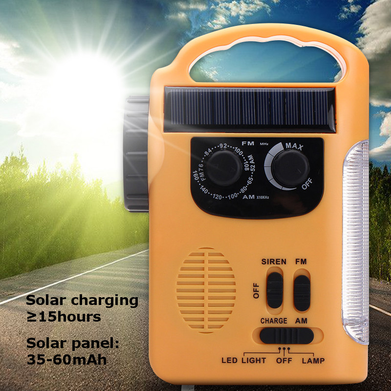 цена на Smuxi Outdoor Emergency Hand Crank Solar Dynamo Radio Portable AM FM Radios Phone Charger With 13 LED Flashlight Emergency Lamp