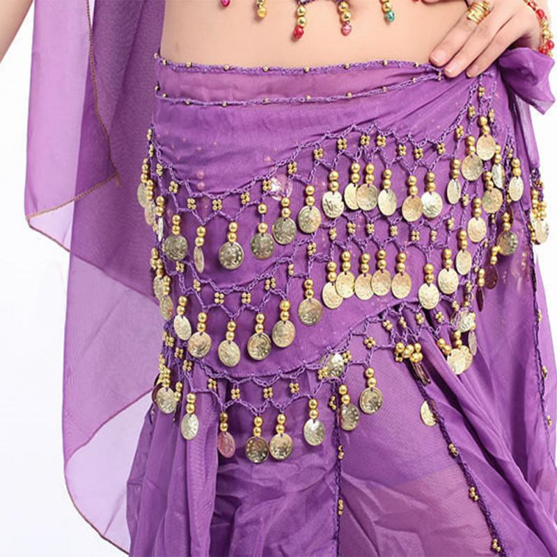 Women Colorful Belly Dancer Costume Hip Scarf Wrap Sequins Belt 58 Coin Chiffon Skirt Clothes