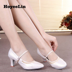 Image 4 - HoYeeLin Modern Dance Shoes Women Ladies Mid Heeled Ballroom Tango Waltz Dancing Shoes Indoor Outsole
