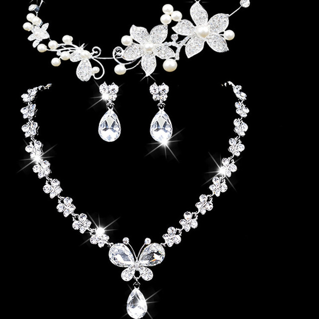 Bowknot Sale Women Maxi Necklace Sterling Jewelry Wedding Accessories Three piece Bridal Jewelry The New Bride Sets Headdress