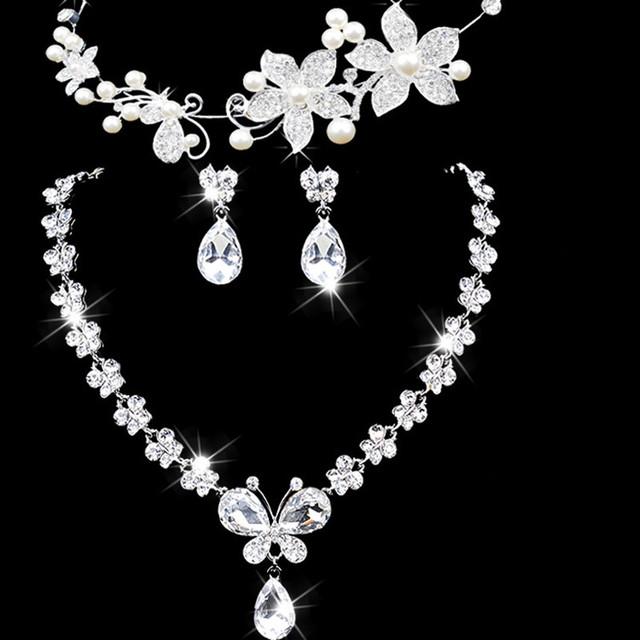 Bowknot venda mulheres Maxi colares de jóias de casamento acessórios três peças de jóias de noiva a nova noiva define mantilha