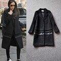 2016 зима новый Европейский и Американский стиль Виктория бекхэм с кашемир шерсть лоскутная ИСКУССТВЕННАЯ кожа длинные черные пальто