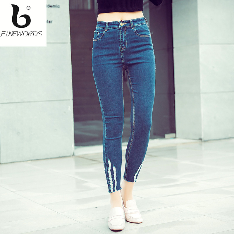 FINEWORDS Causal Buttom Ripped Elasticity Skinny Jeans Woman Push Up Denim Pant Legging 3 Color Plus