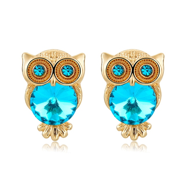 Gold Plated Colorful Crystal Owl Stud Earrings