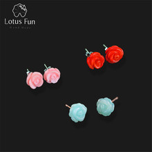 LOTUS FUN 925 Sterling Silver Eearings Handmade Flower Stud Earrings Women With Natural Stone Creative Brincos Fine Jewelry