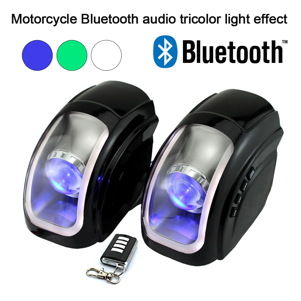 2 pcs 20W Motorcycle Bluetooth Speakers 3 colors light Waterproof MP3 Music Player Motorbike Wireless Audio FM Remote Controller