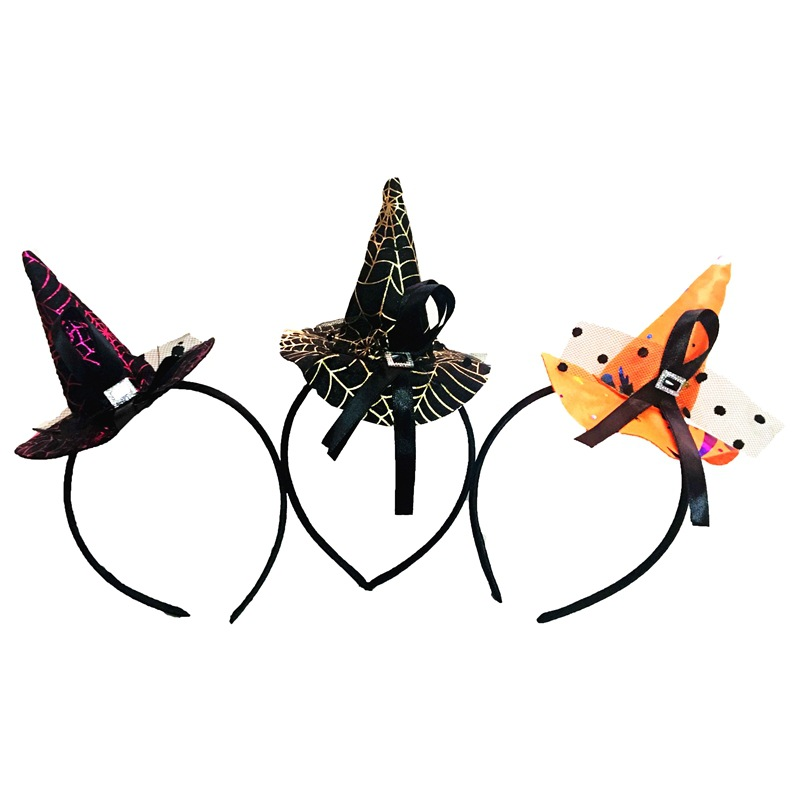 Fashion Halloween Style Headband Unisex Adult Kids Wizard Hats Created Stones Hair Bands Jewelry Gold Orange Rose Red, 1 Piece