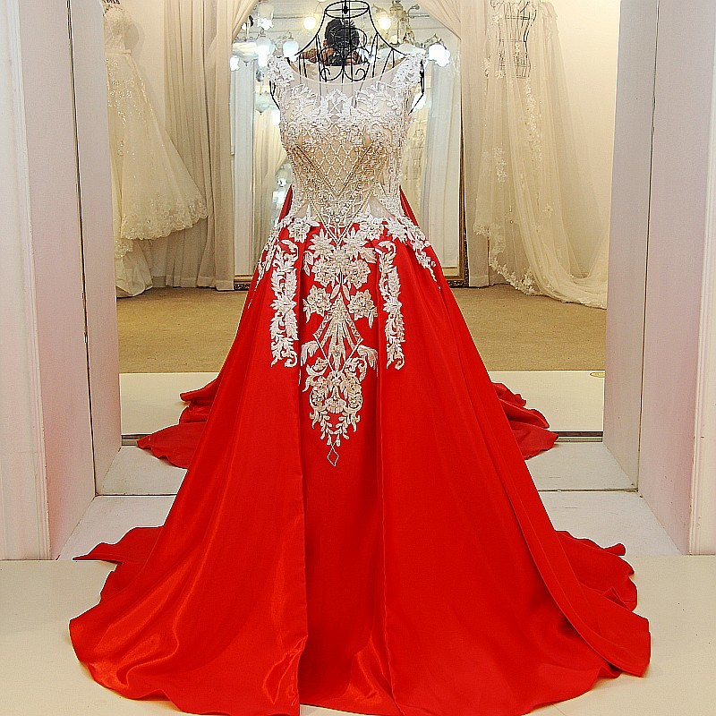Long red formal dress O neck sleeveless beading crystals corset back satin robe de soiree arabe 100% real photo 2018