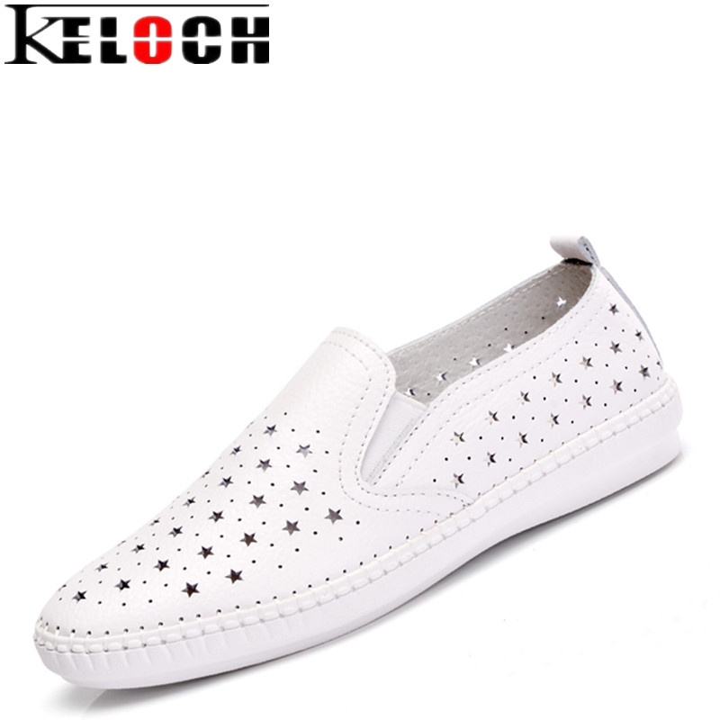 Keloch High Quality Summer Women Casual Shoes 2018 Genuine Leather Ladies White Flats Handmade Fisherman Shoes Slip-On Loafers xiuteng 2018 spring genuine leather women candy color flats soft rubber sole ladies casual high quality beach walking shoes