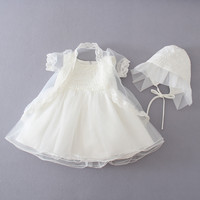 3 pcs/Set White Baby Girl Party Dress baptism Dress+Coat+Hat Newborn Lace Christening gowns Baptism Clothes 1year birthday dress