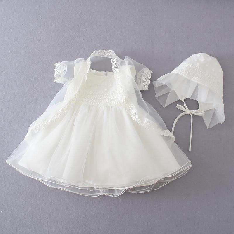 3 pièces/ensemble blanc bébé fille robe de soirée robe de baptême + manteau + chapeau nouveau-né dentelle robes de baptême vêtements de baptême 1 an robe d'anniversaire