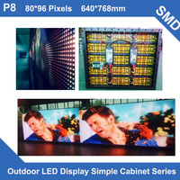 TEEHO P8 Outdoor SMD led panel Full Color video TV 640*768mm 80*96 dots simple Cabinet for advertising LED screen fixed use