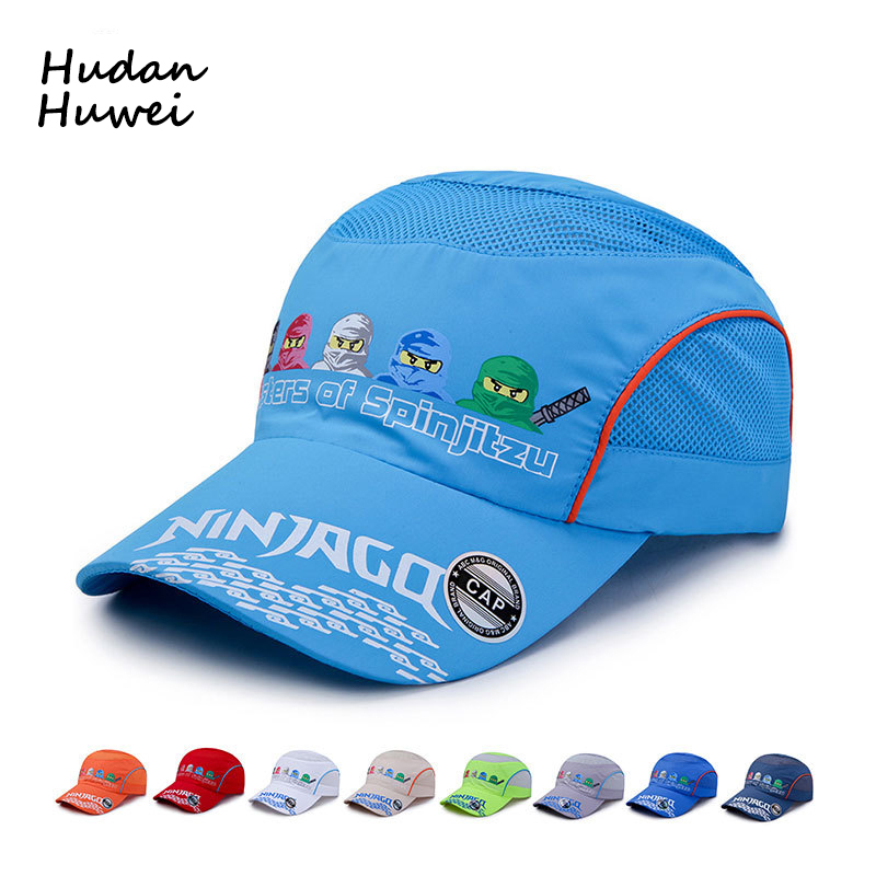 Five Ninjas Cartoon Printing Fast Dry   Baseball     Caps   for Children Outdoor Boys Girls Sports Net   Cap   Breathable Sunhat Run Hat