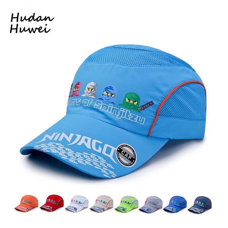 Five Ninjas Cartoon Printing Fast Dry   Baseball     Caps   for Children Outdoor Boys Girls Sports Net   Cap   Breathable Sunhat Run Hat
