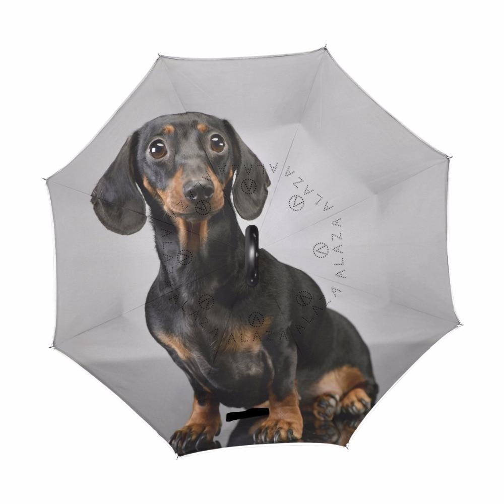 Adorable Short Haired Dachshund Dog Reverse Umbrella Windproof Sun Rain Umbrella Double Layer Umbrella Parasol for Men Women