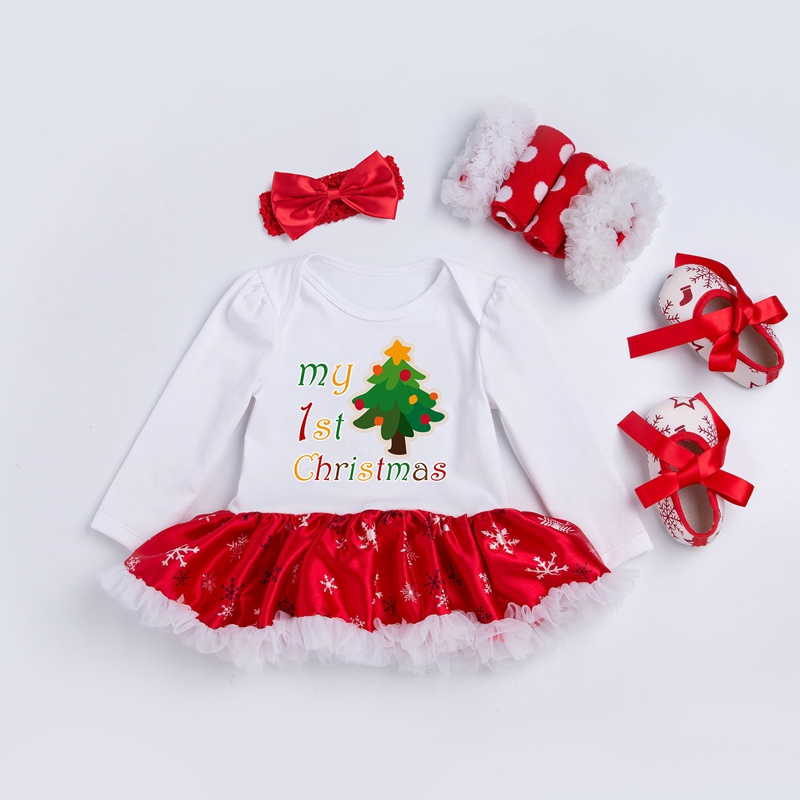 Newborn Dress 4pcs/set My 1st Christmas Baby Girls Clothes Toddler Girl Clothing Set Infant Deer Fesstival Costume Xmas Gifts 4pcs set baby girls clothing newborn baby clothes christmas infant jumpsuit clothes xmas bebe suits toddler romper tutu dresses