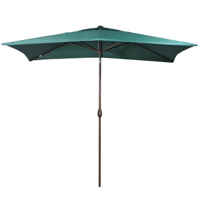 Abba Patio 6.6 by 9.8-Feet Rectangular Market Outdoor Table Patio Umbrella with Push Button Tilt and Crank Dark Green
