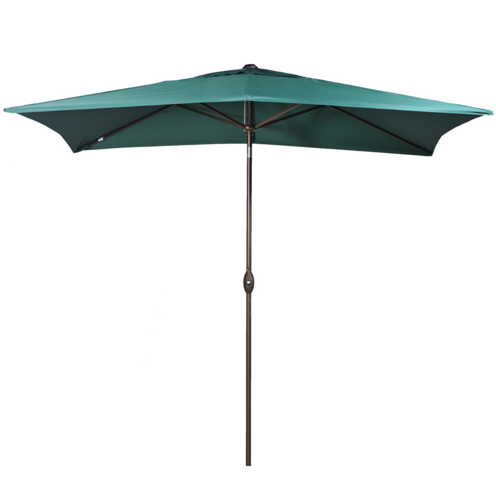 Abba Patio 6.6 By 9.8 Feet Rectangular Market Outdoor Table Patio Umbrella  With Push Button Tilt And Crank Dark Green
