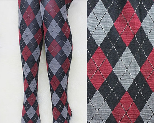 AMNESIA Heroine Rhombus Plaid Striped Pantynoses Cosplay Costume Socks