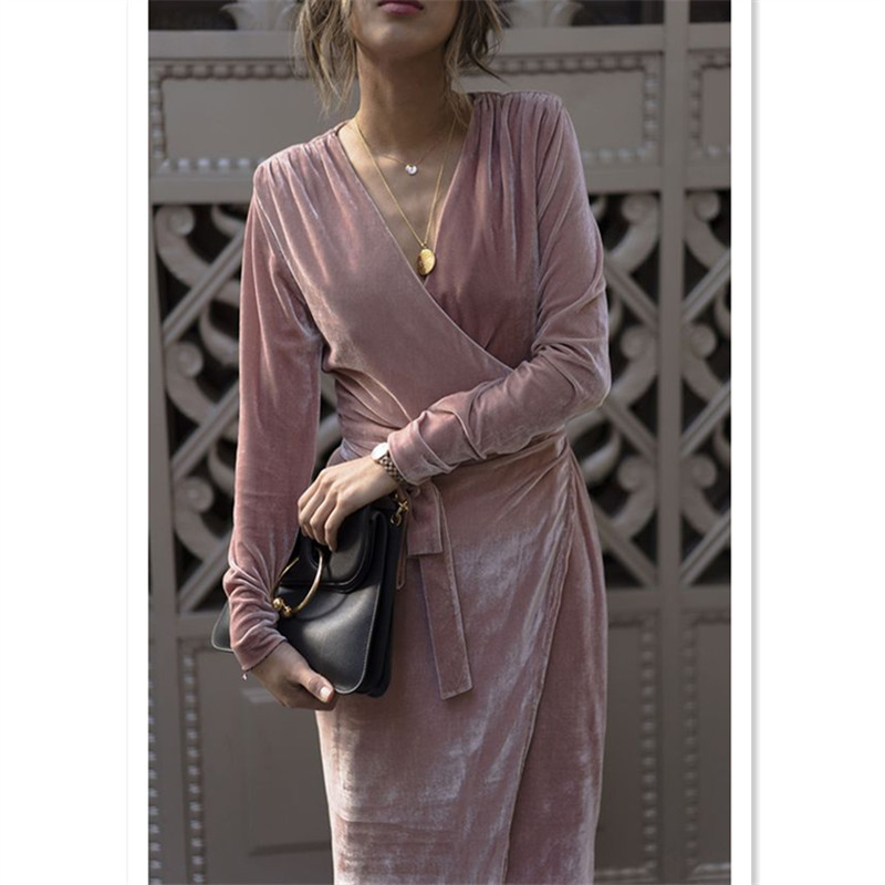 WBCTW Long Velvet Dress Autumn Spring Elegant Dresses Fashion Long Sleeve High Waist V-Neck Sexy Women Casual Maxi Plus Size gigi крем для век и шеи new age comfort eye