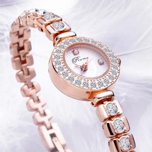 Image 3 - PREMA Ladies Bracelet Watch Women Luxury Fashion Rhinestone Quartz Watches Small Dial Stainless Steel Wristwatch Relogio 2020