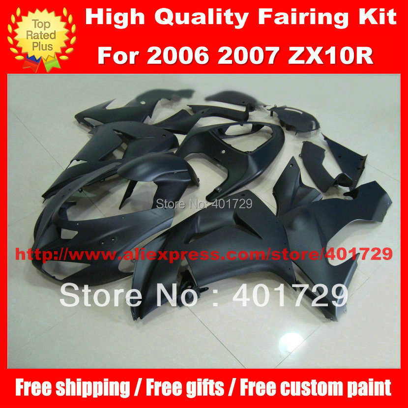 Flat black body work for Kawasaki ZX10R 2006 2007 ZX-10R 06 07 free custom paint Motorcycle Parts with gifts
