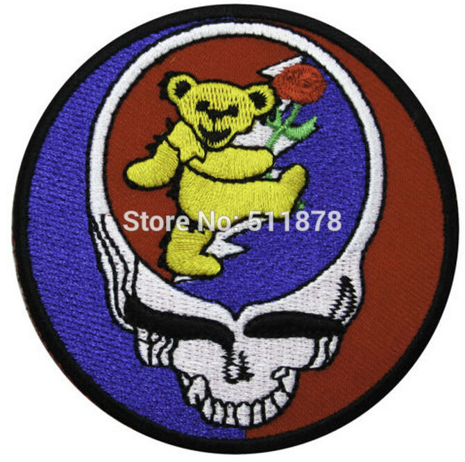 3 GRATEFUL DEAD Music Dance Bear Music Band EMBROIDERED IRON On Patch APPLIQUE Heavy Metal Rock
