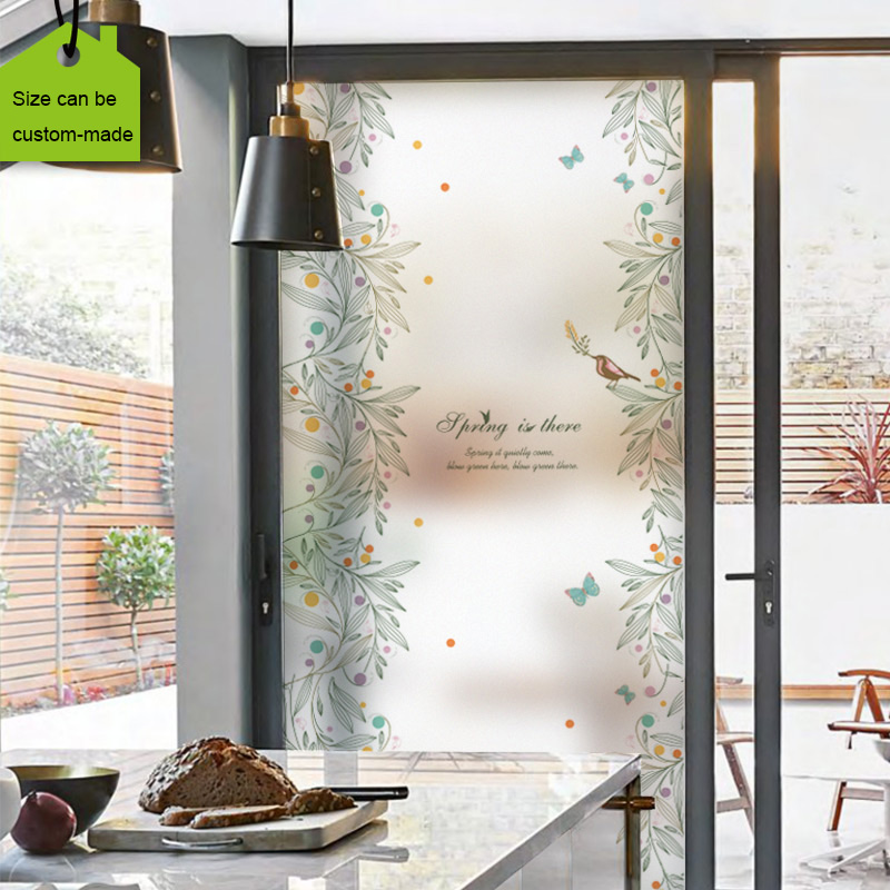 countryside village style customized size stained glass window film sliding door static cling home decor flower birds