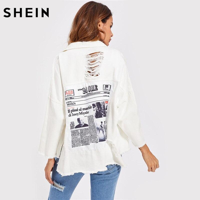 SHEIN Drop Shoulder Patch Back Distressed Jacket Autumn Jeans Jacket Women Lapel Long Sleeve Single Breasted
