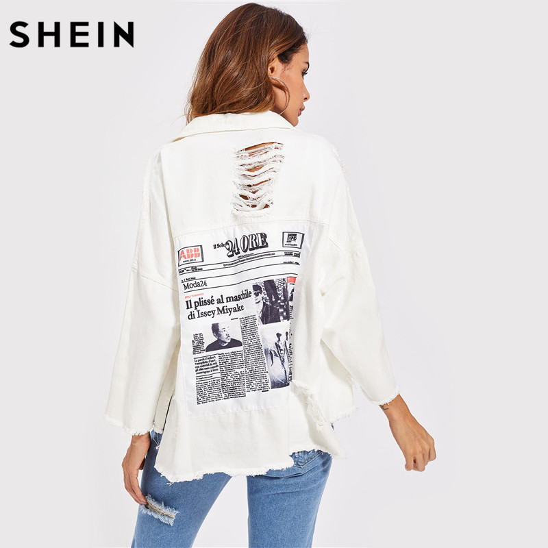 SHEIN Drop Shoulder Patch Back Distressed <font><b>Jacket</b></font> Autumn Jeans <font><b>Jacket</b></font> Women Lapel Long Sleeve Single Breasted <font><b>Jacket</b></font>