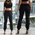 2016 Summer PU Women Pants Casual Elastic Waist Black Female Faux Leather Trousers Fashion Korean Street Brand New