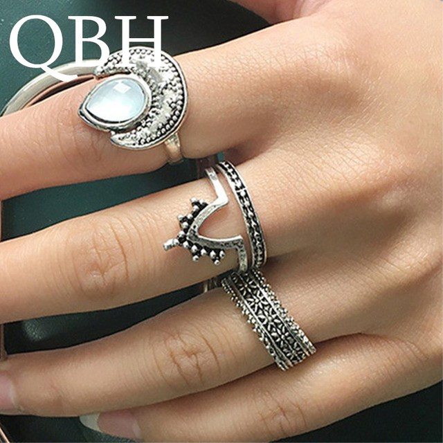 4pc/set Bohemian Beach Retro Tail Finger Ring Sets Gypsy Women Knuckle Party Jewelry Gift Opal Midi Ring Carved Moon Anillo G054