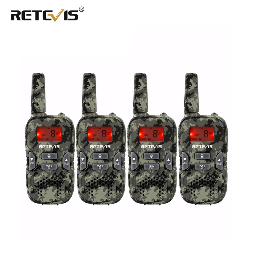 Camouflage Mini Walkie Talkie 4 Pcs Kids Radio Retevis RT33 8CH 0.5W PMR446 VOX LCD Display USB Charging Two-way Amateur Radio