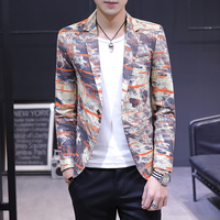 2019 Tide Male Spring and Autumn Suit Casual Jacket Fashion Brand Small Suit Printing Slim Fashion Handsome Business Dress