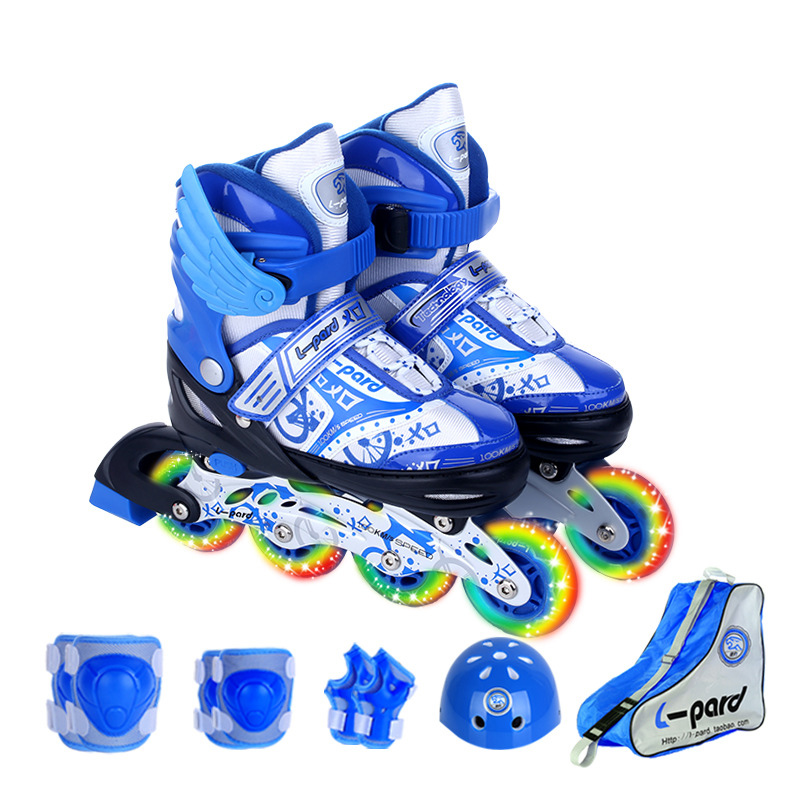 9 In 1 Children Inline Skate Roller Skating Shoes Helmet Knee Protector Gear Adjustable Washable Hard Flashing Wheels Teenagers-in Skate Shoes from Sports & Entertainment    3