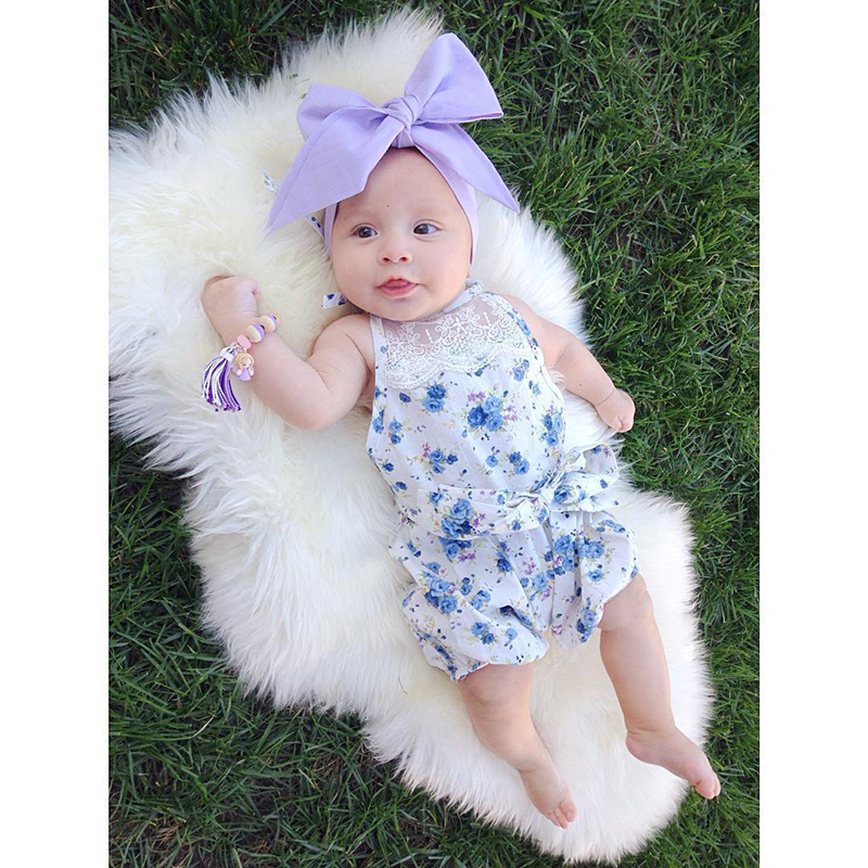 Baby Girl Rompers Flower Infant Romper Summer Cotton Girl Jumpsuit Bow Newborn Clothes Sleeveless Baby Romper Blue Baby Clothing newborn baby rompers baby clothing 100% cotton infant jumpsuit ropa bebe long sleeve girl boys rompers costumes baby romper