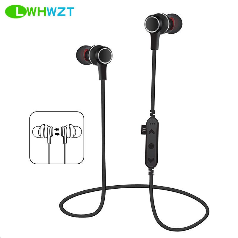 LWHWZT T12 Bluetooth Headphones Sport Magnetic Wireless Headset oortelefoon Music Magnet TF Card Slot Earbuds With Microphone