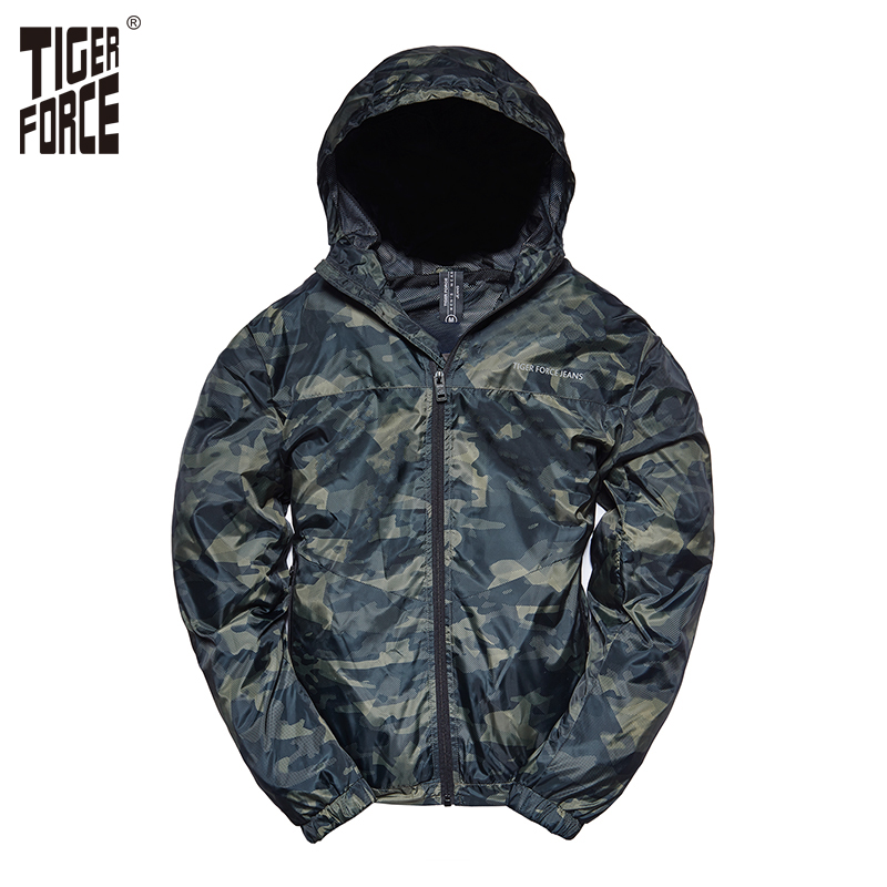 TIGER FORCE 2018 Printemps Hommes Casual Veste À Capuche Coupe-Vent Manteau de Camouflage Veste avec Impression Hommes Mâle Armée Camo Outwear