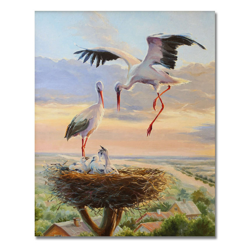 WEEN Crane Picture By Numbers Animal Oil Painting Horse Coloring By Number On Canvas DIY Handpainted Deer Wall Painting Decor