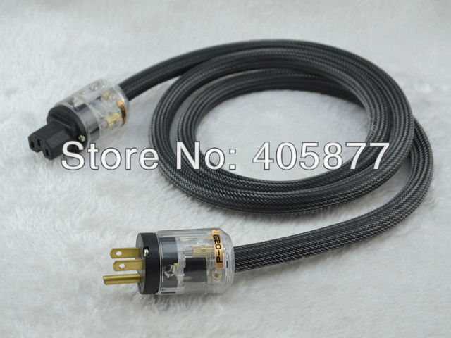 Hi-End power cable powerline with P029+C029 gold plated US power plugs 1.5m free shipping krell us version gold plated power plugs ac audio plugs connection power cable