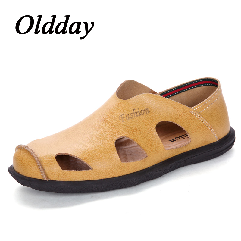 Men Sandals Leather Spring Summer Male Casual Shoes Beach Slip on Breathable Footwear Man Fashion Lazy Sneakers