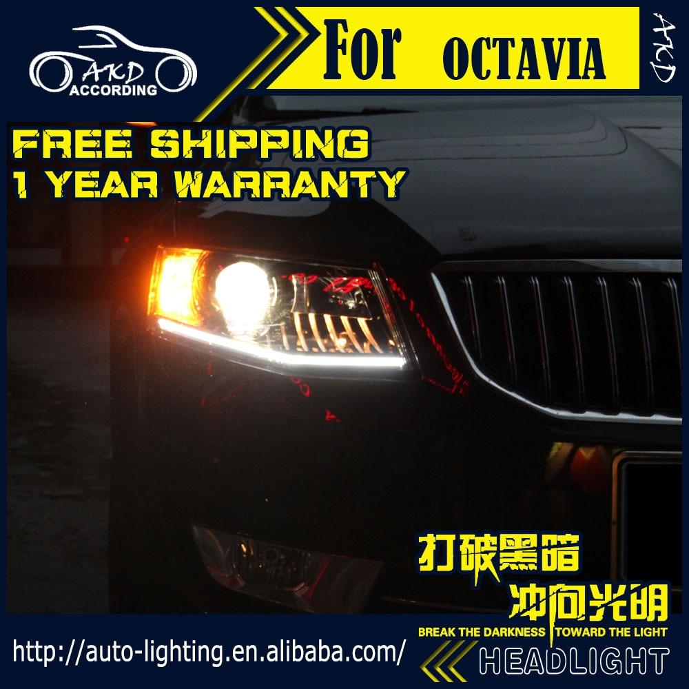 AKD Car Styling Head Lamp for Skoda Octavia LED Headlight 2015 2017 New Octavia DRL H7 D2H Hid Option Angel Eye Bi Xenon Beam