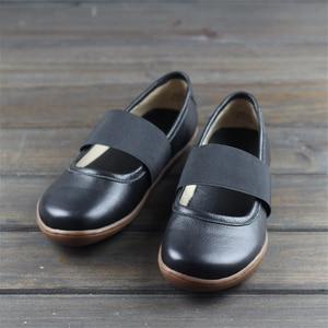 Image 2 - Zapatos planos de cuero genuino para mujer, zapatos informales oxford planos, calzado femenino, novedad primavera 2020, amarillo y negro