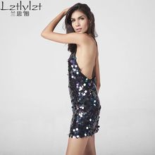 Lztlylzt Summer Women Dress Sexy Club Dress Backless Deep V Sequin Sundress Slip dress Woman Short Mini Party Dresses