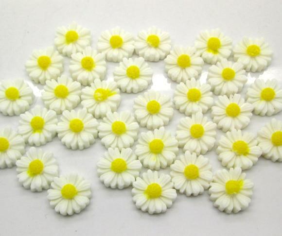 50Pcs White Resin Flower Beads Decoration Crafts Flatback Cabochon Scrapbooking Fit Phone Embellishments Diy Accessories