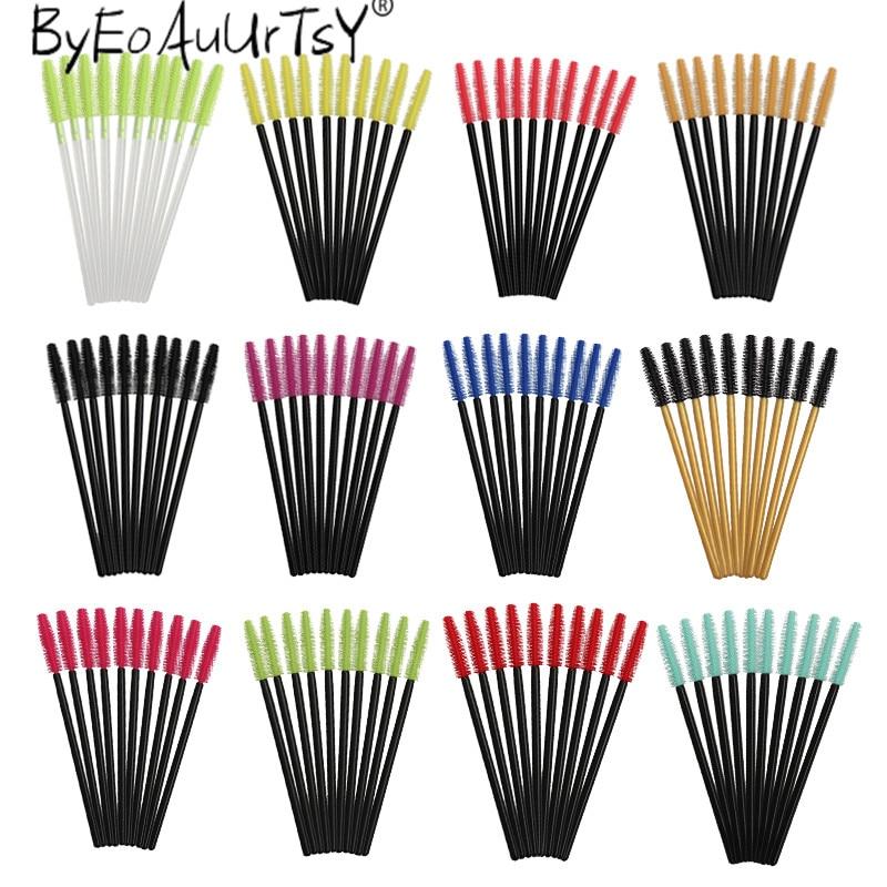 50 adet silikon kirpik fırçalar tek kullanımlık maskara fırçaları aplikatör göz Lashes makyaj kadınlar için kozmetik fırça güzellik araçları